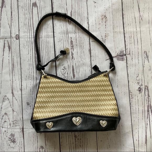 unbranded Handbags - Tan rattan weave & black medium hearts purse bag